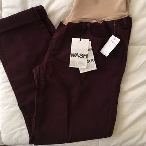 Gap Maternity Girlfriend Skinny Maroon Jeans NWT
